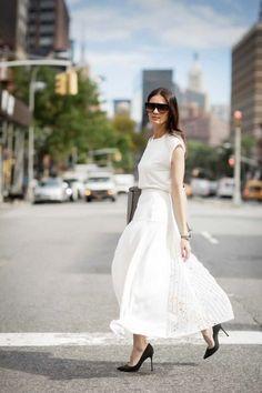 Leila Yavari White maxi skirt