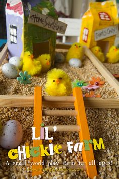 Chicken yard sensory bin - mini eggs, pom pom chicks, little nests, fence, chicken houses from milk cartons Easter Activities, Spring Activities, Activities For Kids, Crafts For Kids, Sensory Activities, Sensory Boxes, Sensory Play, Sensory Table, Farm Sensory Bin