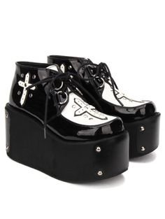 Black Gothic Cross Style Platform Shoes for Women Dr Shoes, Goth Shoes, Me Too Shoes, Creepers, Emo, Gothic Crosses, Lolita, Platform Boots, Aesthetic Fashion