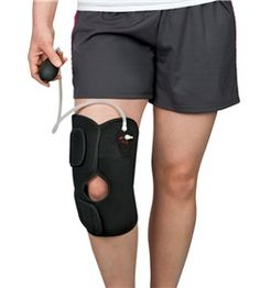 Knee Cold Kompressor combines the benefits of pneumatic compression with cold #therapy to help decrease #edema, #pain, and swelling. Hook-and-loop straps make the wrap easy to apply or remove. Removable hinges provide additional support for wearer. Includes two gel pads. One size fits all.