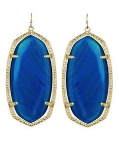 New Deep Blue 14k gold Kendra Scott earrings. Looks great on everyone--especially blondes. Worn by Hilary Duff-who I think has great style. by lea