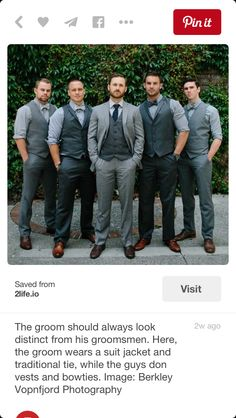Groomsmen. Instead of grey bow ties, they are dark green