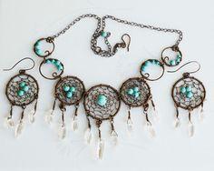 Dream Catcher Turquoise Clear Quartz Wire Wrap Gemstone Necklace Earrings Set #Jeanninehandmade #Wrap
