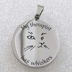 """Cat Necklace """"My Therapist has Whiskers"""" Stainless Steel Pendant Silver #unbranded #Pendant"""
