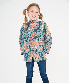 Another great find on #zulily! Blue Floral & Fuchsia Medallion Reversible Jacket - Toddler & Girls #zulilyfinds