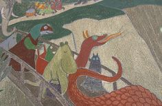 Muumimamma ja muita satuhahmoja Kotkan lastenkulttuurikeskuksen seinämaalauksessa (1949).