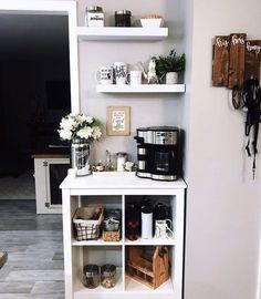 Coffee Station Kitchen, Coffee Bars In Kitchen, Coffee Bar Home, Home Coffee Stations, Coffe Bar, Kitchen Trolley, Knopparp Ikea, Coffee Bar Design, Coffee Nook