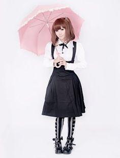 coton blanc à manches longues chemisier et jupe noire classique lolita
