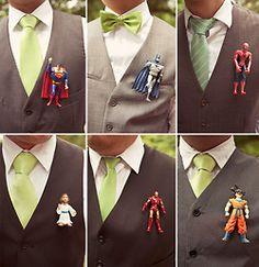 Superhero Groomsmen Boutonnieres | via Groomsmen Swag | photography by jagger photography