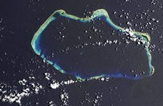 The Castle Bravo submarine crater left behind after the Bikini Atoll thermonuclear bomb, which was 1,000 times more powerful than the atomic bomb dropped on Hiroshima. Just the 2km across and 80m deep.