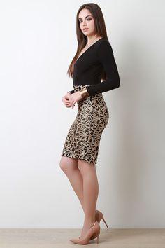 Glitter Sequins Combo Bodysuit Dress