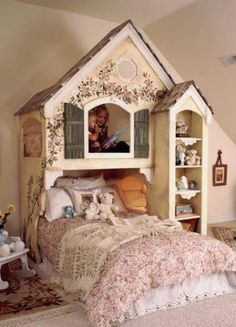 Decoracion Hogar - Comunidad - Google+ Cool Bunk Beds, Kids Bunk Beds, Loft Beds, Bunk Beds For Girls Room, Baby Room Decor, Bedroom Decor, Bedroom Ideas, Bedroom Furniture, Wall Decor