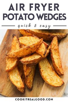 These easy homemade Air Fryer Potato Wedges are crisp on the outside and soft and fluffy on the inside. This simple recipe requires no fuss or pre-soaking and you'll have delicious seasoned wedges in under 30 minutes.