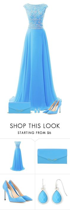 """""""Blue dress"""" by csilla06 ❤ liked on Polyvore featuring Fendi, Jimmy Choo and Liz Claiborne"""