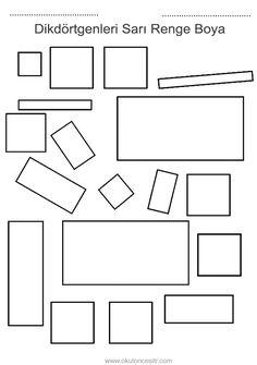 Dikdörtgen kavramı çalışma sayfası ve dikdörtgen geometrik şekiller kavramı çalışmaları etkinliği örnekleri kağıdı indirme, çıktı yazdırma. Free rectangle worksheets download printable. Shapes Worksheet Kindergarten, Shapes Worksheets, Shapes For Kids, Diy And Crafts, Preschool, Education, Math, Coloring Pages, Activities
