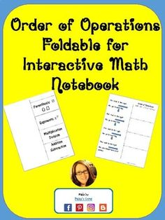 Order of Operations Foldable Equivalent Expressions, Numerical Expression, Order Of Operations, 5th Grade Math, Common Core Math, 5th Grades, Math Resources, Math Lessons, Middle School
