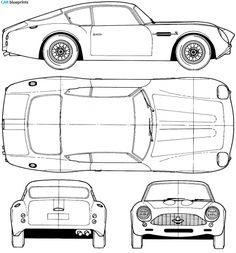 1964 Aston Martin DB4 GT Zagato Coupe blueprint