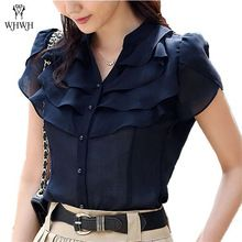 Cheap shirt size, Buy Quality chiffon shirt directly from China blouse fashion Suppliers: Summer Butterfly Sleeve Ruffled Collar Women V-neck Chiffon Shirts Size Korean Fashion Lady Loose Casual Blouse White/Blue Chiffon Shirt, Ruffle Blouse, Navy Blouse, Ruffle Top, Ruffles, Stil Inspiration, Mode Style, Blouse Designs, Blouses For Women