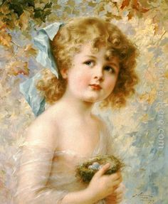 Girl Holding a Nest Painting by Emile Vernon