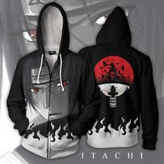 Anime Movie Inspired Naruto Itachi Uchiha Zip Up Hoodie Jacket, Great Gift For Your Anime Fan! Itachi Cosplay, Zip Up Hoodies, Mens Sweatshirts, Anime Hoodies, Printed Hoodies, Totoro, Naruto Clothing, Anime Naruto, Naruto Eyes
