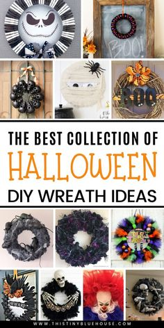 Here are 40 of the absolute best DIY Halloween wreaths. From cute and kid friend… Here are 40 of the absolute best DIY Halloween wreaths. From cute and kid friendly to super spooky there is a wreath to fit every decor preference. Pin: 610 x 1220 Dollar Store Halloween, Halloween Crafts For Kids, Halloween Snacks, Easy Halloween, Holidays Halloween, Holiday Crafts, Halloween Stuff, Halloween Party, Halloween Celebration