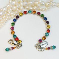 Multicolored Bracelet Rainbow Bracelet Fun Swarovski crystal 6mm Crystal Rhinestone Colorful Bracelet ,Silver Multicolor Tennis Necklace,SB2