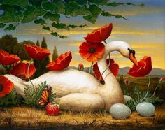 Beautiful Swan With Her Eggs Thank You Di 51 gif by angellovernumberone Illustrations, Illustration Art, Art Fantaisiste, Swans, Wow Art, Pop Surrealism, Arte Floral, Art Graphique, Whimsical Art