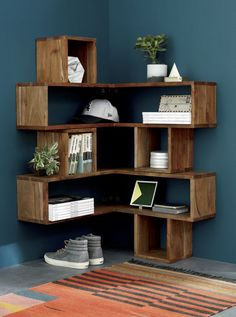 corner block wood shelf | CB2