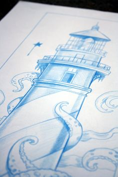 Tangled Attraction original blue lighthouse drawing by Bryan Collins