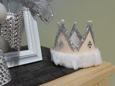 DIY Crown Christmas tree ornament, with silver ribbon, crystal stickers and white pearls.