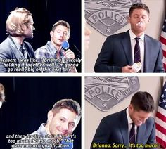 Jensen on tormenting Sheriff Donna Hanscum aka (Brianna Buckmaster) This has to be one of my favorite Dean scenes from ssn 9 :) :D