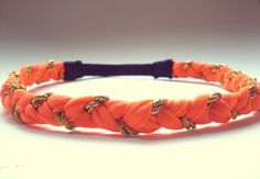 Hippie Headband Neon Orange and Gold Braided Headband  Womens Hair Accessories