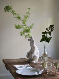 still life - interior styling detail - Mats Gustafson, Stockholm - love this polar bear ceramic vase Indoor Plants, Interior Inspiration, Flower Power, Planting Flowers, Greenery, Home Accessories, Floral, Home Decor, Mats Gustafson