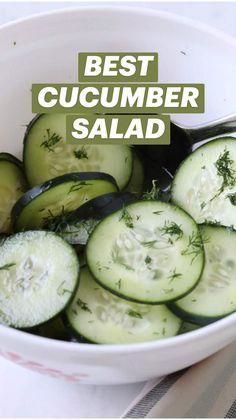 Salad Recipes, Cucumber Recipes, Diet Recipes, Cooking Recipes, Healthy Recipes, Cucumber Appetizers, Healthy Side Dishes, Vegetable Side Dishes, Salads
