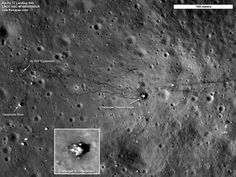 http://apod.nasa.gov/apod/ap110908.html Apollo 17 Site: A Sharper View Credit: NASA / GSFC / Arizona State Univ. / Lunar Reconnaissance Orbiter This view of the Apollo 17 landing site in the Taurus-Littrow valley was captured last month by the Lunar Reconnaissance Orbiter (LRO), the sharpest ever recorded fr space. The high resolution image data was taken during a period when LRO's orbit was modified 2create a close approach of abt 22 km as it passed over some of the Apollo landing sites.