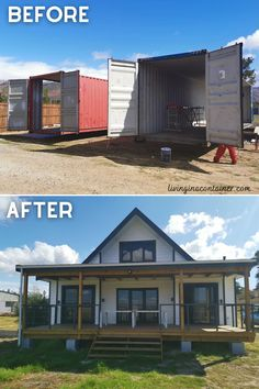 Shipping Container Cabin, Sea Container Homes, Shipping Container Home Designs, Building A Container Home, Container Buildings, Container Architecture, Container House Plans, Container House Design, Gable Roof Design
