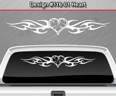 Design #116-01 HEART Back Window Decal Sticker Vinyl Graphic Tribal Flame Car in eBay Motors, Parts & Accessories, Car & Truck Parts   eBay