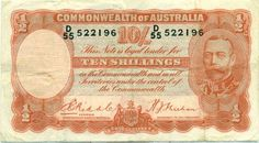AUSTRALIA R11 10/ SHILLING RIDDLE / SHEEHAN 1936 gF/aVF