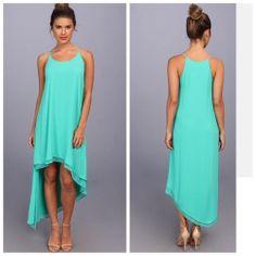*NEW* BCBG Green Jade LIENNA Double-Layer Tank Dress L $228 WQR61B95  #BCBGMAXAZRIA #AsymmetricalHem #Cocktail