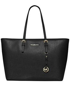 Michael Kors Jet Set Leather Medium Travel Tote Black * Check out the image by visiting the link.Note:It is affiliate link to Amazon.