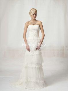 Tulle Sheath Strapless Unique Vintage Wedding Dresses