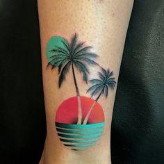 Best Palm Tree Tattoo Designs for Summer Vibes - Tats 'n' Rings - colorful sunset palm tree leg tattoo - Palm Tattoos, Hawaii Tattoos, Sunset Tattoos, Leg Tattoos, Body Art Tattoos, Sleeve Tattoos, Beach Tattoos, Tatoos, Miami Tattoo