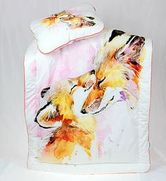 Baby Girl Bedding Set for a crib Fox child and mom Pink White