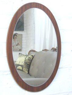 Danish G plan interest Teak framed mid century wall hanging vintage mirror Oval good quality Art Moderne, Glass Panels, Antique Mirrors, Danish, Teak, Oversized Mirror, Retro Vintage, Mid Century, Sculpture