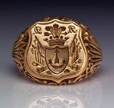 Antique Russian Signet Gold Ring c. 1840 | From a unique collection of vintage signet rings at http://www.1stdibs.com/jewelry/rings/signet-rings/