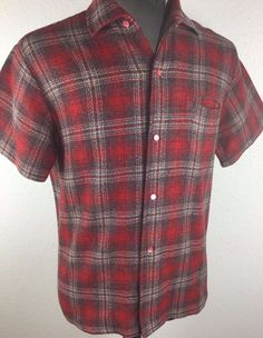 "VINTAGE 1950'S-60'S ROCKABILLY SHADOW PLAID ""SIR GUY""  SHIRT-MEDIUM"