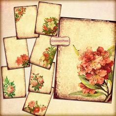 PINK FLOWERS  digital collage sheet, digital paper vintage scrapbook supplies for scrapbooking digital download