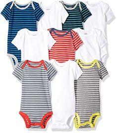 Carter's Baby Boys' 10-Pack Short-Sleeve Bodysuits, Stripe/White, 3 Months