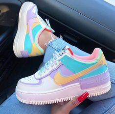 Back to the with these amazing new sneakers from Nike. They come in the original design of the Air Force 1 but then with double layered details. In beautiful pastel rainbow colors. Named Nike Air Force 1 Shadow Pale… Jordan Shoes Girls, Girls Shoes, Cute Girl Shoes, Ladies Shoes, Shoes Women, Women Sandals, Cute Sneakers, Shoes Sneakers, Colorful Sneakers