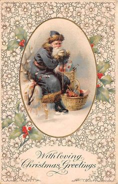 Vintage Santa Claus, Vintage Santas, Vintage Christmas, Christmas Greetings, Holiday Cards, Merry Christmas, Christmas Postcards, Father Christmas, Christmas Crafts